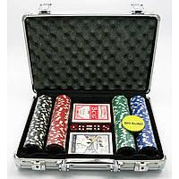 Покерный набор в кейсе 2 колоды карт +200 фишек 24х32х9 см