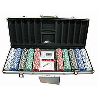 Покерный набор в кейсе 2 колоды карт +500 фишек 59х25х9 см