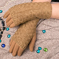 Женские сенсорные перчатки бежевого цвета на меху с вязаными митенками Paidi 76-1 04-beige 8,5