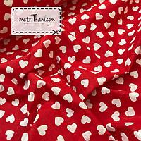 Хлопковая ткань, бязь белые сердца на красном №868
