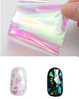 Пленка для ногтей, битое стекло, прозрачная розово-зеленая