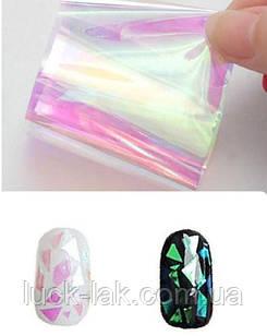 Плівка для нігтів, бите скло, прозора рожево-зелена
