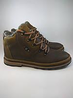 Ecco ботинки высокие размер из натуральной кожи на меху коричневый с оливкой