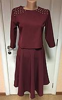 Женский костюм празднично-деловой бордового цвета, размеры:42,44