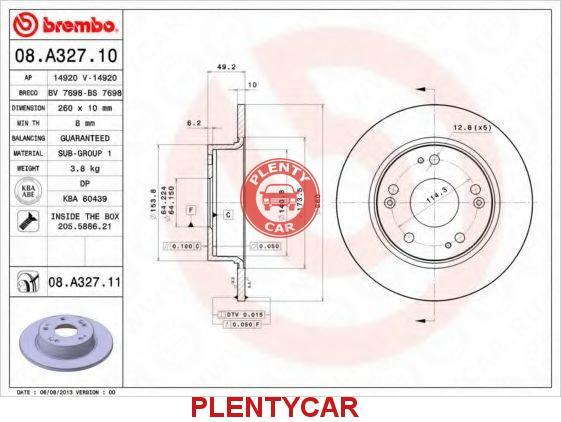 08A32710 Диск тормозной BREMBO