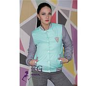 Женская модная молодежная куртка - бомбер цвет мята.