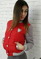 Женская модная куртка - бомбер красный.