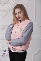 Женская модная демисезонная куртка - бомбер персиковая.