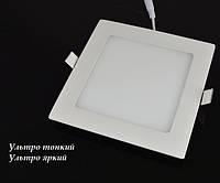 Встраиваемая Led панель 12W 1200Lm алюминий квадрат, фото 1