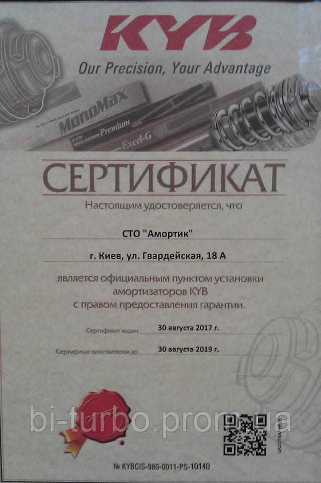 """Сертификат СТО """"Амортик"""""""