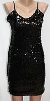 Платье вечернее на бретелях, черное, пайетки