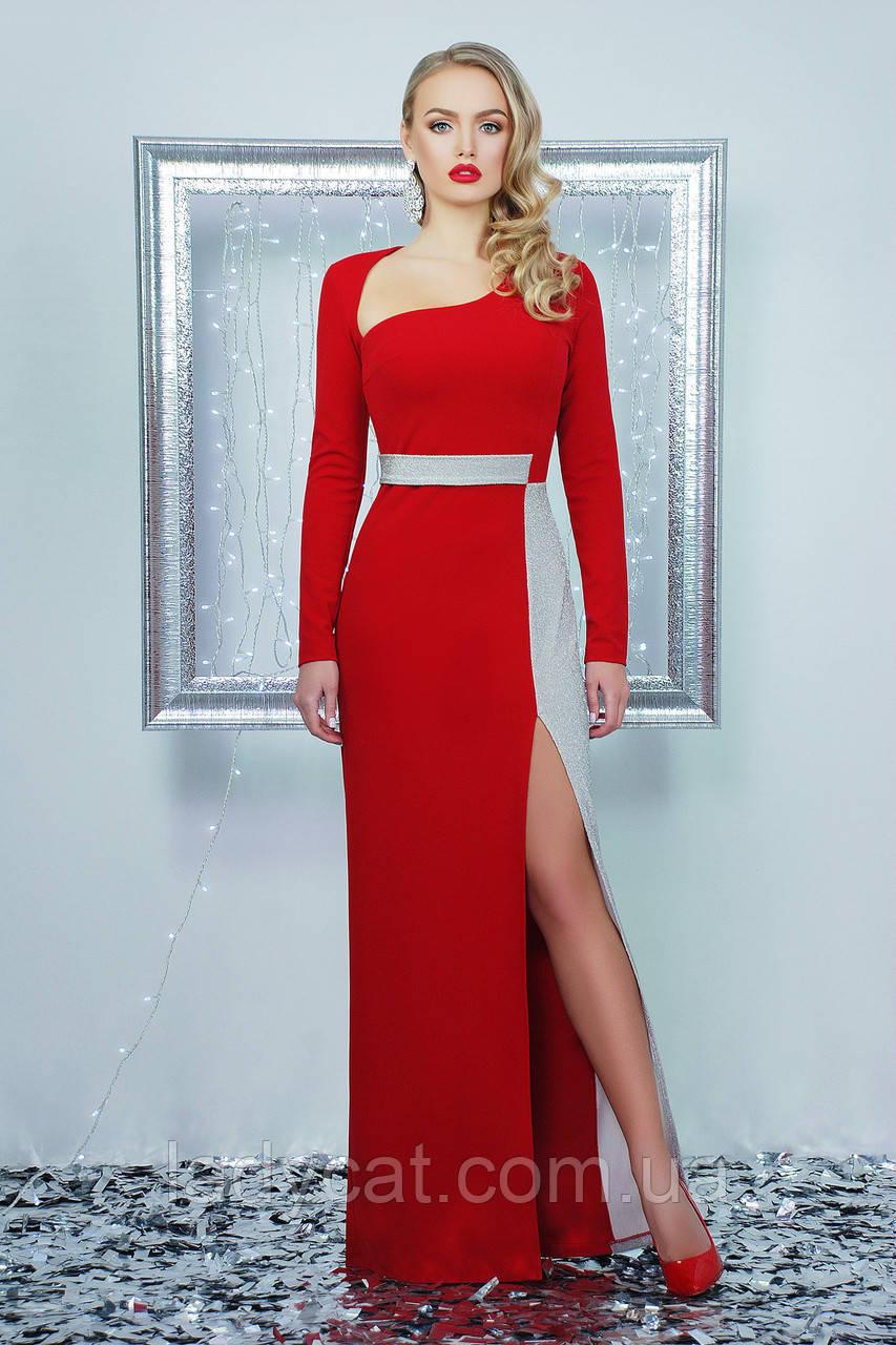 Длинное праздничное красное платье с разрезом