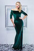 Шикарное изумрудное вечернее платье с открытыми плечами