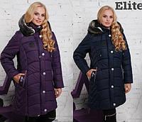 Женская зимняя куртка в больших размерах с капюшоном 202384