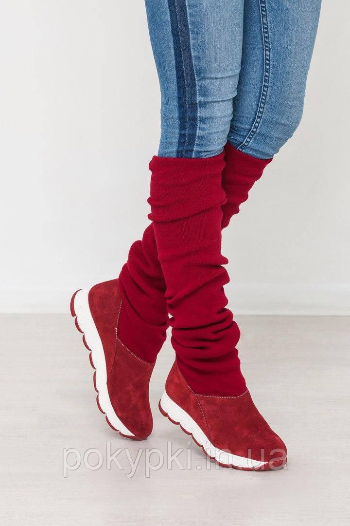 0979f0eab942 Удобные зимние сапоги женские чулок высокие с теплым довязом красные -