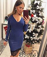 Платье из ангоры с напылением и кружевом по низу 3303778