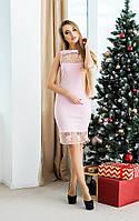 Платье из дайвинга с гипюром без рукавов 45783