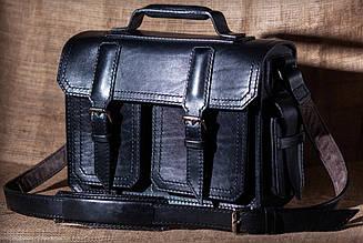 Портфель из натуральной кожи краст UKR V17-104 черный