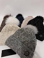 Вязаная теплая женская шапка на флисе с бубоном 7779