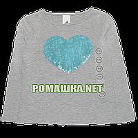 Детский реглан (футболка с длинным рукавом) р.110 для девочки ткань 100% хлопок 1107 Серый