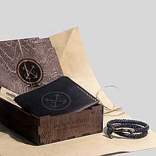 """Подарочный набор мужской """"Wallet Triplet Box"""": кожаный кошелек и кожаный браслет с якорем. Цвет коричневый"""