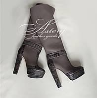 Женские сапоги темно-серые кожаные с питоном