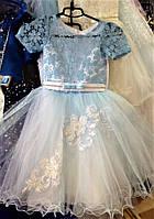 Платье детское для девочки нарядное голубое Снежинка на 4-6 лет