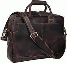 """Кожаная сумка-портфель для ноутбука 15,6"""" Tiding t1019 темно-коричневый"""