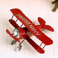 Декоративная модель самолета для интерьера из железа красный