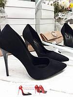 Купить туфли лодочки недорого черный замш шпилька 11см