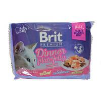 Brit Premium Cat pouch 340g - обеденная тарелка в желе ассорти 4 вкуса для кошек ( 111244/392 )
