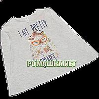 Детский реглан (футболка с длинным рукавом) р.122-128 для девочки ткань 100% хлопок 1101 Серый 122