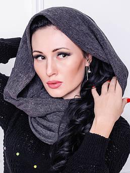 В'язаний хомут -Ангора - сірий меланж