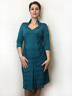 Бирюзовое нарядное платье с декольте П77