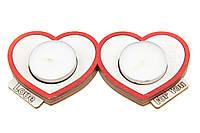"""Романтический деревянный подсвечник Сердца Двух с надписью """"Love For You"""" + две свечи в подарок"""
