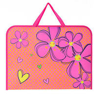 """Папка-портфель на молнии А3 формата с тканевыми ручками  """"Flowers"""""""