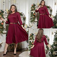Женское однотонное платье бордового цвета