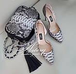 Женские туфли на каблуке из питона натуральной расцветки, фото 4