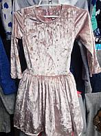 Платье бархатное для девочки-подростка 8-12 лет с длинными рукавами персикового цвета оптом