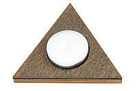 Подсвечник деревянный одинарный Треугольник венге + свеча в подарок
