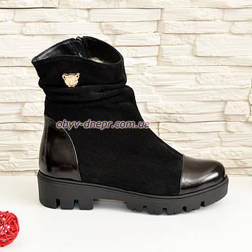 Ботинки женские демисезонные на тракторной подошве, натуральная черная замша и лак.