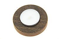 Подсвечник деревянный одинарный Круглый венге + свеча в подарок