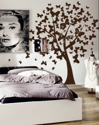 """Вінілова наклейка на шпалери """"Дерево з метеликів"""" Великий (205х170 см) 65, Малый (110х130 см), 1100"""