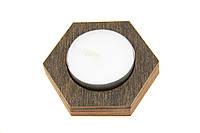 Подсвечник деревянный одинарный Шестиугольник венге + свеча в подарок