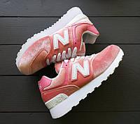 Кроссовки розовые велюровые кроссовки New Balance 574