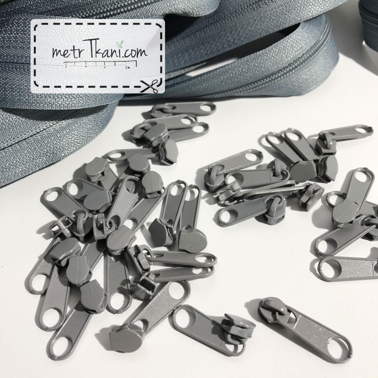Бегунок металлический серый для рулонной молнии № БМ-316-Т3