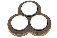 Подсвечник деревянный Тройной по кругу венге + три свечи в подарок