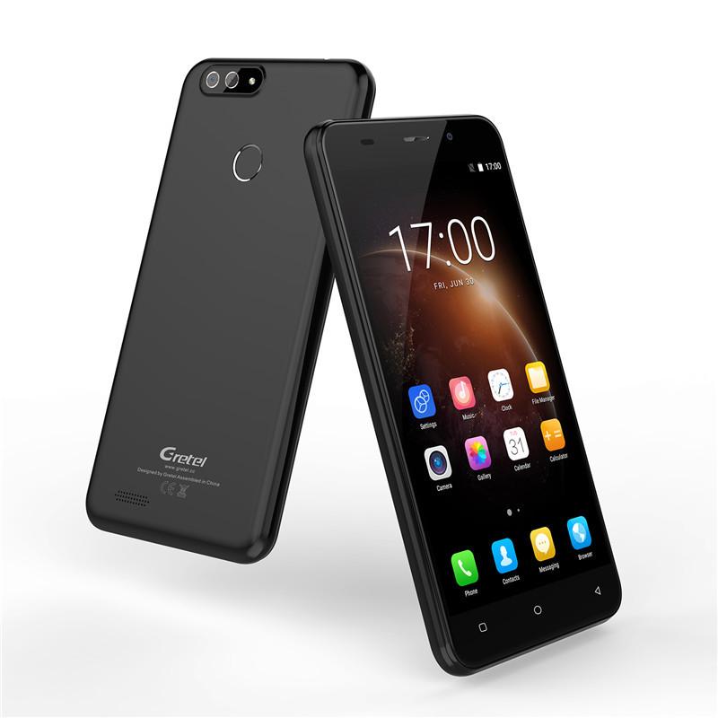 "Смартфон Gretel S55 Black, 1/16Gb, 8+0,3/5Мп, 4 ядра, 2sim, экран 5.5"" IPS, 2600mAh, 3G, Android 7.0"