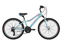 """Подростковый горный двухколесный велосипед 24"""" Pride Lanny 21 2018 ТМ PRIDE Голубой/бирюзовый/малиновый SKD-26-04"""