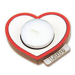 """Подсвечник деревянный """"Love"""" + свеча в подарок"""